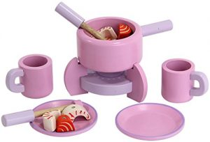 Mentari Fondue Set aus Holz für Spielküche pink mit Zubehör