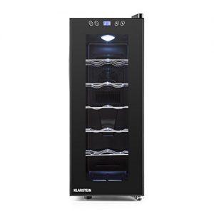 Klarstein Vinamora Weinkühlschrank Getränkekühlschrank (35 Liter, 12 Flaschen, LED-Beleuchtung, Touch-Bedienung, doppelt isolierte Glastür) schwarz