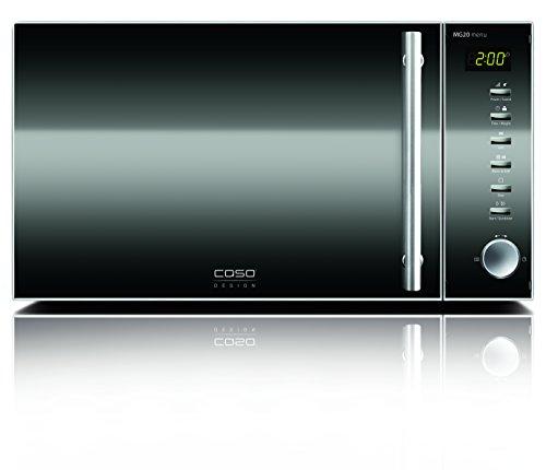 CASO MG20 menu Design Mikrowelle 2in1 / Edelstahl / 800 Watt Mikrowelle / 1000 Watt Grill / 2 Kombiprogramme & 14 automatische Kochprogramme / 20 Liter Garraum