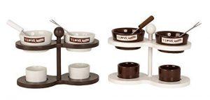 Tolles 2er Schokoladen Fondue Set aus Keramik weiß/braun 19×12 cm mit je 2 Fonduegabeln