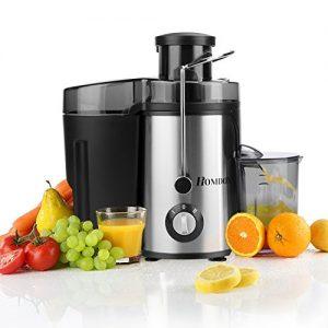 Homdox Elektrischer Edelstahl Entsafter 2 Geschwindigkeiten Juicer Extractor mit Saftbehälter für Obst und Gemüse 350W Upgrade-Version