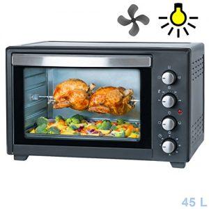 45Liter, 2000 Watt Backofen mit Innenbeleuchtung, Drehspieß & Umluft Mini Pizza