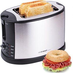 TZS First Austria – 2 Scheiben Edelstahl Toaster mit Brötchenaufsatz | Bagel-Funktion und Nachhebe-Funktion | Isoliertes Gehäuse | Krümelschublade | Toast-Zentrierung | Modernes edles Design | schwarz