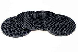 Oxid7® Topf-Untersetzer aus Silikon in Schwarz | Topflappen 4er Set Rund | Lebensmittelecht / Hitzebeständig bis zu 230°C & Spülmaschinenfest