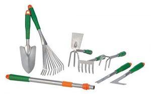 Gartenwerkzeug-Set mit Teleskopgriff 8tlg. Gartengeräte Schaufel Rechen Harken