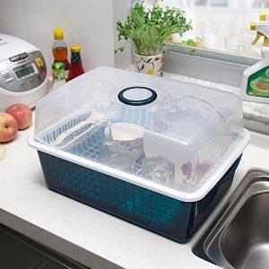 Schrank Kunststoff Küchenschüsseln Racks Abfluss Racks mit Deckel-Schüsseln Stäbchen Geschirr Aufbewahrungsbox Setzen Regale Geschirr Abtropfbrett Dripping ( farbe : Blau )