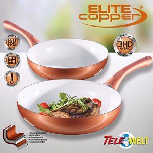 4-tlg Ceraflon Keramik-Kupfer Pfannenset ELITE COPPER Pfanne Bratpfanne Induktion TV Bratpfannen – bekannt aus TELESHOP TV