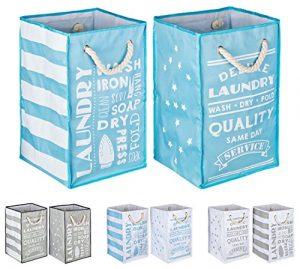 TOPP4u Wäschesammler, Wäschekorb blau – weiß 2er Set, 4 tolle Designs, Vintage, faltbarer Wäschesack mit 45 Ltr, 30x30x50 cm, langlebige und praktische Wäschebeutel