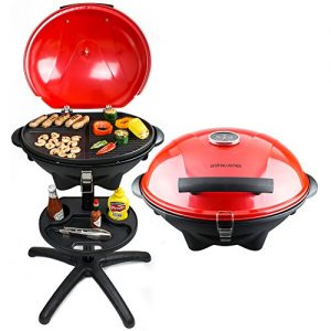 Andrew James Elektrischer BBQ Grill in Rot mit eingebautem Thermometer – Ideal für die ganzjährige Nutzung im Freien oder im Haus