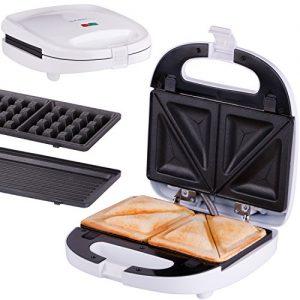 TZS First Austria – 3 in 1 Sandwichmaker Waffeleisen Tischgrill ,Klick-System, Thermostat, Backampel, elektrischer Sandwichtoaster, 700 Watt, Kontaktgrill