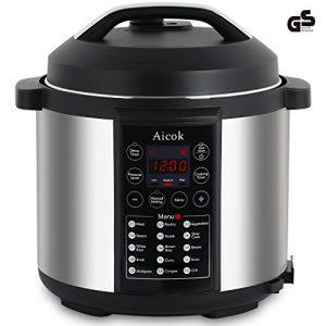 Aicok 7-in-1 Programmierbarer Elektrische Schnellkochtopf , Multikocher,Reiskocher und Dampfgarer Kochtopf , 24 Stunden Timer Multifunktion und 2 Stunden warmhalten Reiskocher , 6L,1000W , Schwarz