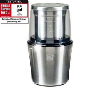 ProCrush Elektrische Universalmühle / Kaffeemühle 2in1, Edelstahl Zerkleinerer und Kaffeemahlwerk, 200W für 20 Sek. zum mahlen – mit Edelstahlmesser, für 100g Kaffeebohnen, silber gebürstet