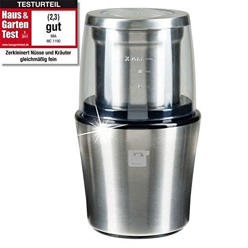 ProCrush Elektrische Universalmühle / Kaffeemühle 2in1, Edelstahl Zerkleinerer und Kaffeemahlwerk, 200W für 20 Sek. zum mahlen - mit Edelstahlmesser, für 100g Kaffeebohnen, silber gebürstet