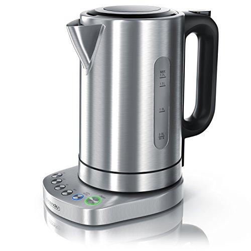 Arendo - 3000 Watt Edelstahl Wasserkocher mit Temperatureinstellung | 4 wählbare Temperaturstufen | 3000 Watt Leistungsaufnahme (Schnellkoch Wasserkocher) | integrierter Kalkfilter | 1,7 Liter | 3000 Watt | Warmhaltefunktion (30min)