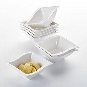 Malacasa, Serie Flora, 8 teilig Set Cremeweiß Porzellan Schüssel Schalen Müslischüssel Salatschüsseln Dessertschalen je 4,75″/11,5*12*5cm für 8 Person