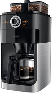 Philips HD7766/00 Grind&Brew Filter-Kaffeemaschine, doppelter Bohnenbehälter, schwarz/metall