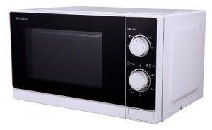 Sharp R-200WW Mikrowelle / 20 L Garraum / 800 W / Mechanische Bedienung / Grau lackierter Innenraum zur einfachen Reinigung / Auftau-Hilfe