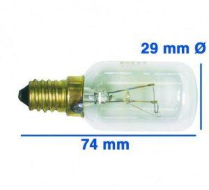 Lampe E14 40W 230/240V, OT! Backofen-/Dunstabzugshaubenlampe mit Gewinde E 14, bis 300° C – Glaskörper: 29 mm Ø – Röhrenlampe –