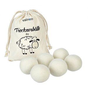 VALNEO 6 Trockner-Bälle aus 100% natürlicher Schafswolle für den Wäschetrockner, schonend zur Wäsche, Strom- und Zeit-sparend |mit 2 Jahren Zufriedenheitsgarantie | Trocknerkugeln