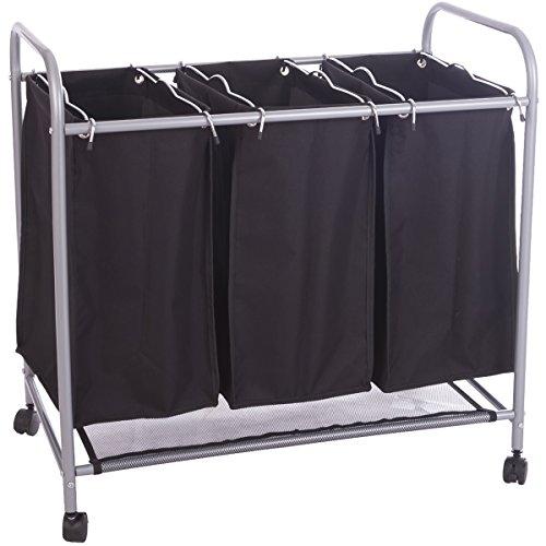 DXP Wäschesortierer Wäschekorb Wäschebox 3 Fächer Wäschewagen Wäschesammler Schwarz LWY01S