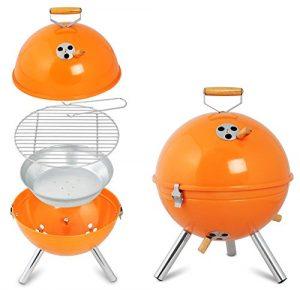 WOLTU® 1 Stück BBQ-Grill Partygrill Holzkohlegrill ideale Grill für Garten, Camping oder Packnick 31 x 31 x 42cm Orange CPZ8120or-a