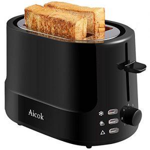 Aicok Toaster mit 2 Scheiben, Frühstückset, kühle Oberfläche, 7 einstellbare Bräunungsstufen für Toast, Automatik-Toaster, 850W, Schwarz