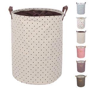 dokehom DKA0814BN Baumwolle Leinen Aufbewahrung Eimer, rund Wäschekorb, erhältlich in 7 Farben Brown Dots 2