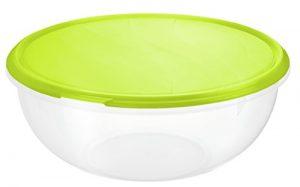 """Rotho 1704505503 Teig- und Frischhalteschüssel Rondo aus Kunststoff (PP), Inhalt 6 L, circa"""" 32.5 x 32 x 13.5 cm, BPA-frei, transparent/Grün Salatschüssel, Kunststoff, 3 Einheiten"""