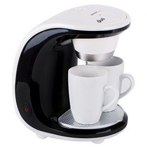 TZS First Austria – 450 W Mini-Kaffeemaschine 2 Tassen je 125ml | 250ml Wassertank | Dauerfilter | inklusive 2 Porzellan-Tassen | abnehmbare Teile spülmaschinengeeignet | Reise-Kaffeemaschine | Büro