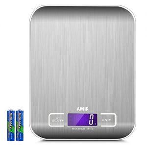 AMIR Digitale Küchenwaage, Digitalwaage Professionelle Waage, Electronische Waage, Küchenwaage, Briefwaage, Hohe Präzision auf bis zu 1g (5kg Maximalgewicht), Tara-Funktion, LCD-Display, Inkl. Batterie