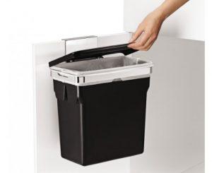 Simplehuman Abfalleimer f Küchenschrank,10 L schwarz, Befestigung, 30×18,5x31cm