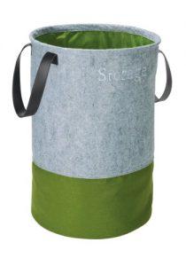 WENKO 3440203100 Pop-Up Wäschesammler Filz Grün – Wäschekorb, Fassungsvermögen 75 L, Filz, 40 x 60 x 40 cm, Grau