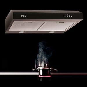NEG Dunstabzugshaube NEG15 (schwarz) Edelstahl-Unterbau-Haube (Abluft/Umluft) mit LED-Beleuchtung, 60cm für Unterschrank- oder Wandanschluss