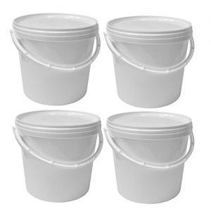 4 x 5 Liter Eimer mit Deckel, weiß