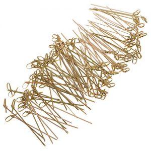 Gazechimp Cocktail Sticks Buffet Party Zahnstocher aus Holz, Knoten Muster, Cocktail Party Picks, Deko Picks, Set/100pcs