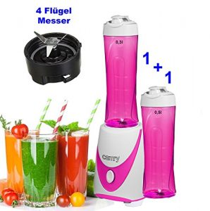 Smoothie-Maker TO GO inkl 2 Trinkbecher Mini-Blender Mixer Ice Crusher Standmixer Mixer Eiweiß Protein Shaker, (Pink)