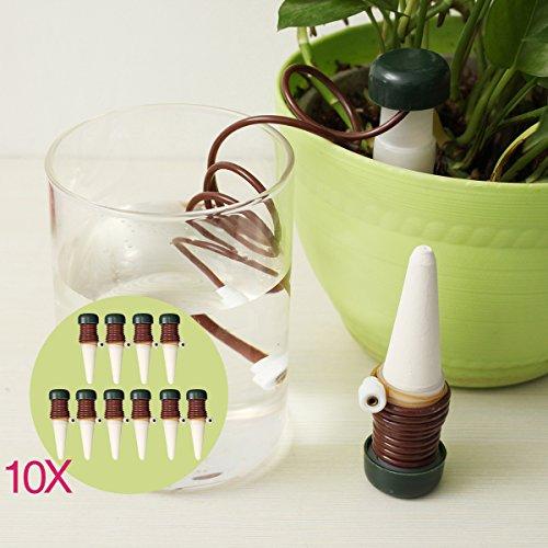 KING DO WAY Automatisch-Bewässerung Wasserspender Tropfer für Topfpflanzen Zimmerpflanzen,aus Keramik & PP Kunstoff | 10 Stück