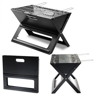 WOLTU® CPZ8118sz-c 1 x Klappgrill Holzkohlgrill geeignet für unterwegs Schwarzer Stahl 45 x 31 x 30cm(L x H x B)