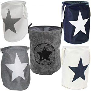 LS Design Wäschesammler Wäschetruhe Wäschesack Wäschekorb Star Sterne Grau