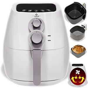 Kesser® Fritteuse ✓ Ofen ✓ Backofen ✓ Heißluft ✓ inklusive Brotbackkorb ✓ Grill   Fettfrei   verschiedene Farben, Modell:Weiß / Silber