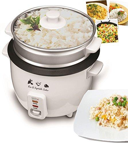 Reiskocher Kochtopf Reis Dampfgarer Schnellkochtopf Multikocher Edelstahl Dämpfer aus Aluminium mit Glasdeckel (1,0 Liter / 400 Watt)
