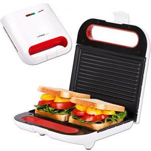 TZS First Austria – 2 in 1 Sandwichmaker und Tischgrill | Thermostat | Backampel | elektrischer Sandwichtoaster | 800 Watt | Kontaktgrill | Sandwich-Grill | weiß | für große Sandwichtoast geeignet