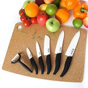 VEJB Messer-Set MEGAPAKET mit 5x edlen VEJB Keramikmesser und 1x hochwertigen VEJB Keramikschäler in weiß Kochmesser scharfe Küchenmesser Profi Chefkochmesser in Premium Geschenkverpackung (weiß)