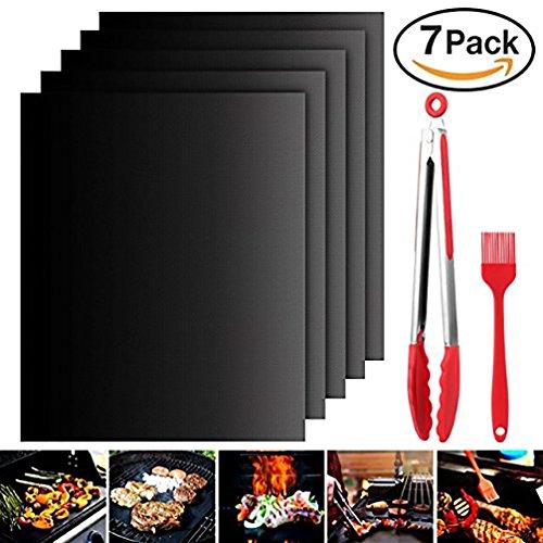 BBQ Backen Grill Matten Set 100% Antihaft- und Hitzebeständige Grill matten für Holzkohle, Elektro- und Gas Grill FDA-Zulassung (7Pack)
