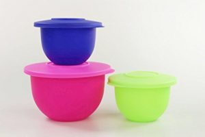 TUPPERWARE Junge Welle Schüssel 1,3 L NEON pink+550 ml grün NEON+dunkelblau 21228