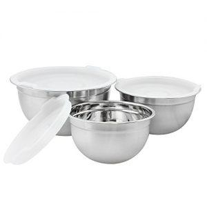 COM-FOUR® 3er Set Edelstahl Schüssel Küchenschüssel mit Aromaschutzdeckel