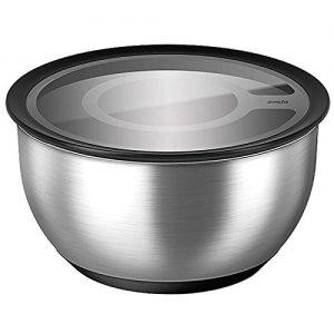 Emsa 515648 Edelstahl-Salatschale mit Deckel, Kühlakku, 5 Liter, Silber, Accenta