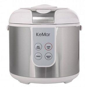 KeMar KRC-130 Digitaler Reiskocher, BPA-frei, Brauner Reis, Naturreis, Dampfgarer mit Warmhaltefunktion, Titan Keramik antihaftbeschichteter Innentopf und Edelstahl Dämpfeinsatz