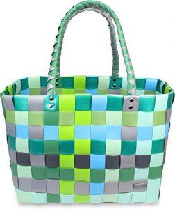 Einkaufskorb Shopper geflochten aus Kunststoff – robuster Strandkorb aus wasserabweisendem Material Farbe Classic / Raindrop