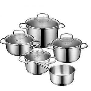 Deik Topf-Set | Kochtopf 5-teilig | Edelstahl | Kochgeschirr-Set mit Glasdeckel | induktionsgeeignet | spülmaschinenfest |inkl. Bratentopf Fleischtopf Stielkasserolle